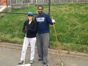 Susan Cimburek and Georgetown rep Hardy Spring Clean up April 2015 by Al-Mustafa Cook DC Parks & Rec